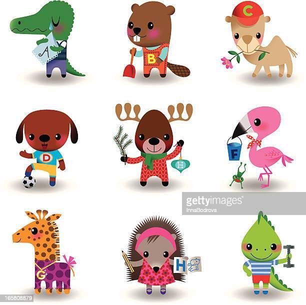 animal set - scoop shape stock illustrations, clip art, cartoons, & icons