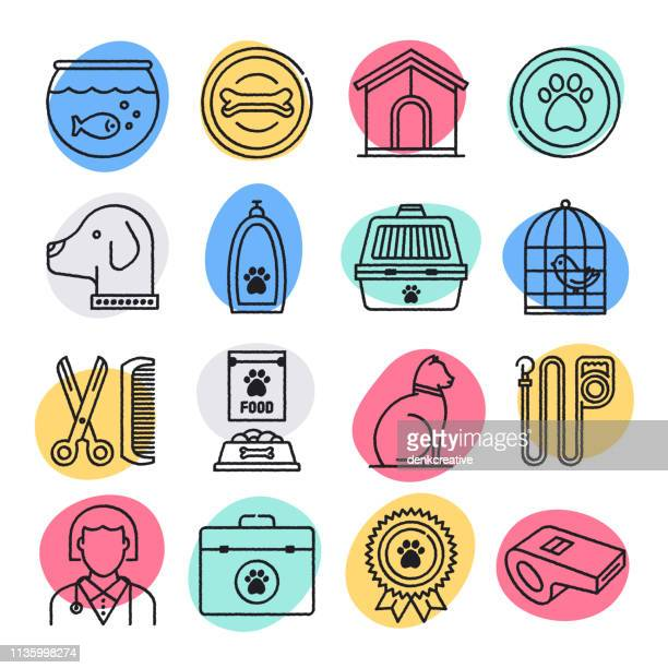 animal shelters & veterinary clinics doodle style vector icon set - pet equipment stock illustrations, clip art, cartoons, & icons