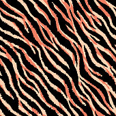 Animal skin seamless pattern. Tiger stripes and lines background. Black and orange repeating backdrop. Detailed hand-drawn vector illustration. Animalistic print for fabrics, posters, banners.