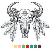 Animal skull coloring design