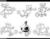 animal soccer players cartoon characters