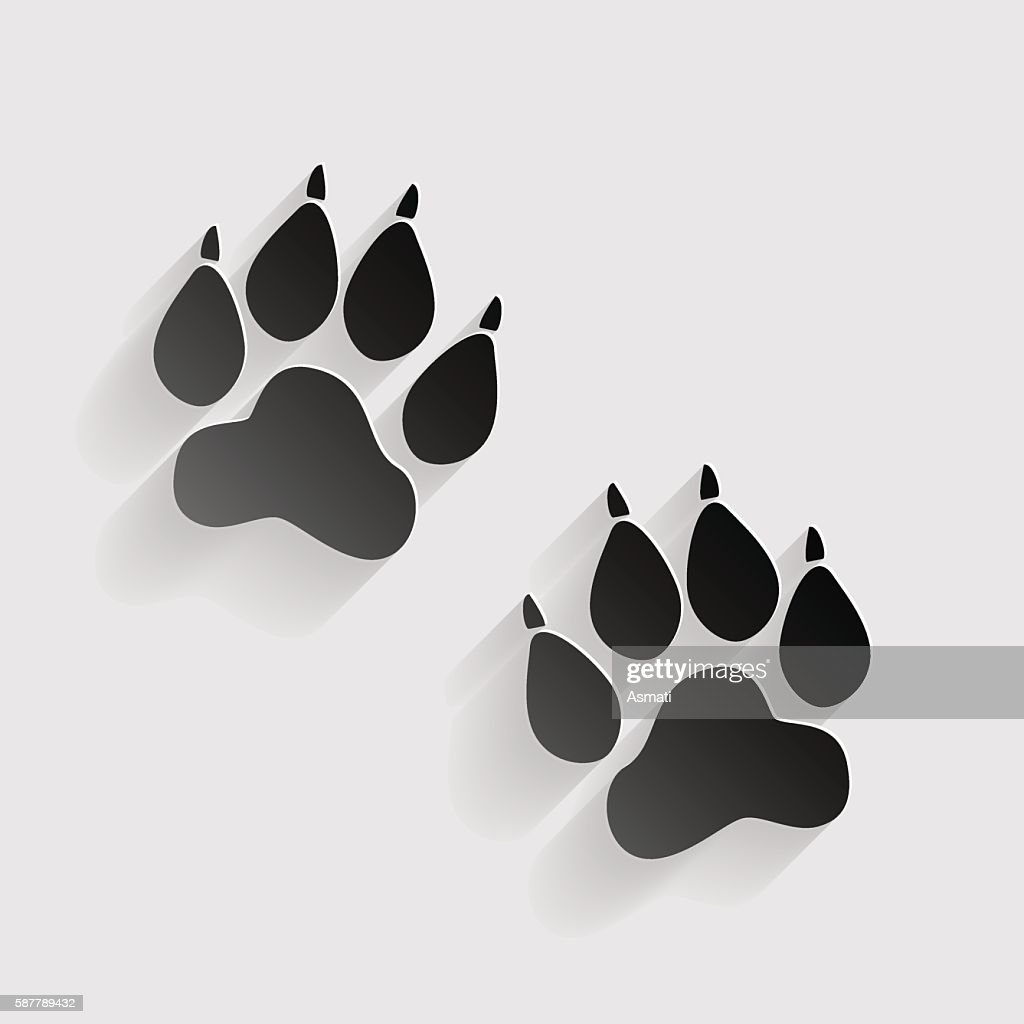 Animal Tracks sign. Black paper with shadow on gray background.