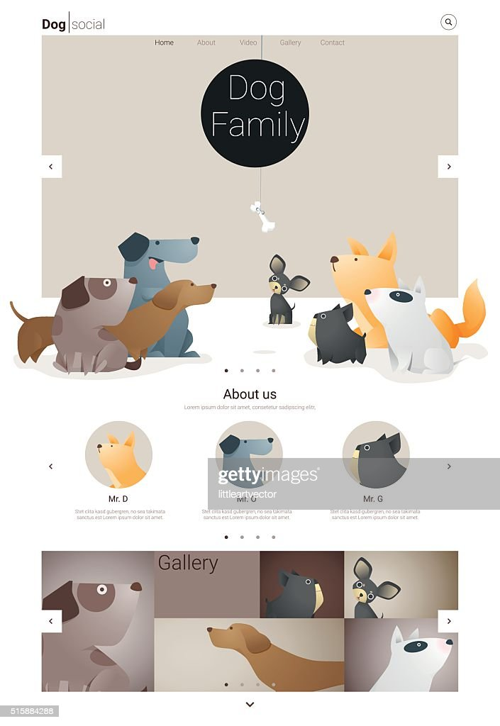 Animal website template  banner and infographic with Dog 1