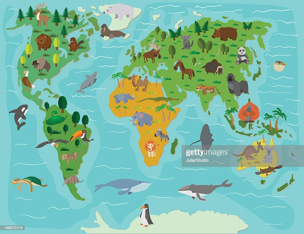 Animal world. Funny cartoon map