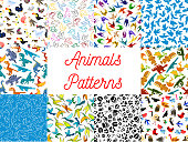 Animals and birds seamless patterns set