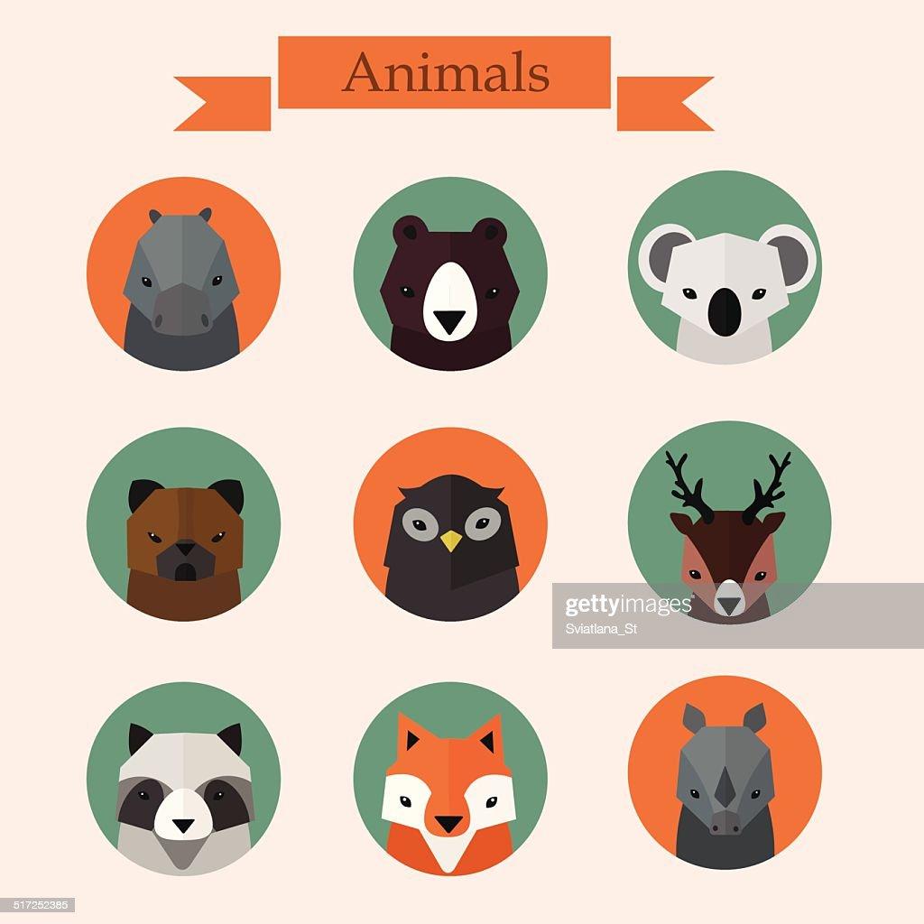 Animals avatars vector set
