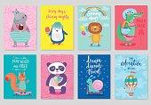 Animals card set, hand drawn style, summer theme.