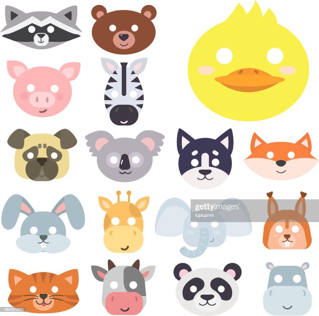 Animals carnival mask vector set festival decoration masquerade and party costume cute cartoon head decor isolated celebration vector illustration