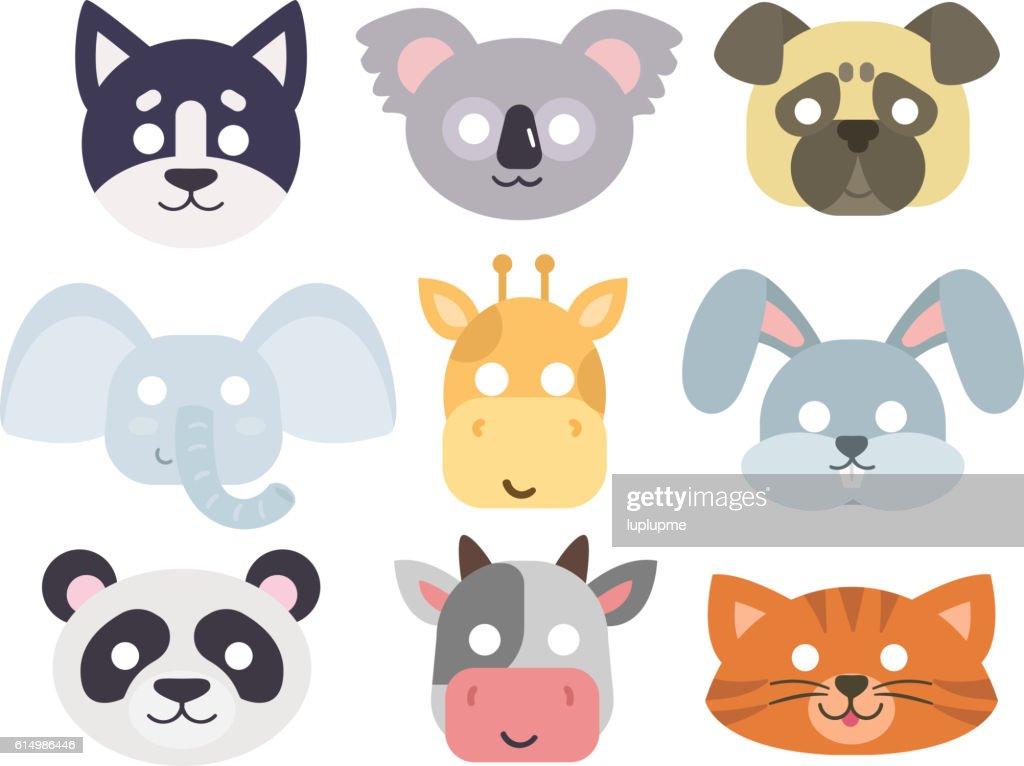 Animals carnival mask vector set.