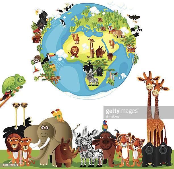 animals cartoon of world - animal themes stock illustrations