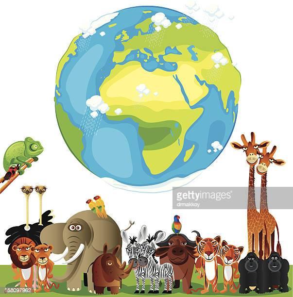 Animals Cartoon of World
