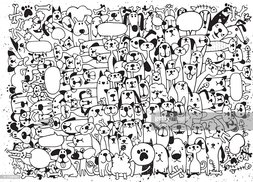 Animals. Cats and Dogs Vector pattern. Hand Drawn Doodles Pets