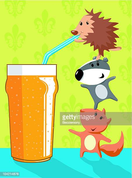 animals celebrating and drinking a pint of beer - lager stock illustrations, clip art, cartoons, & icons