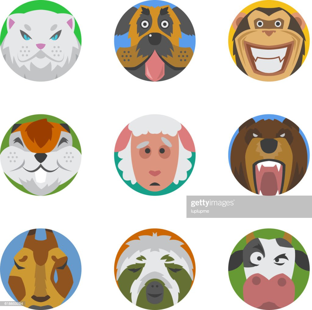 Animals emotions icons vector set.
