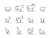 Animals Farm Black Thin Line Icon Set. Vector