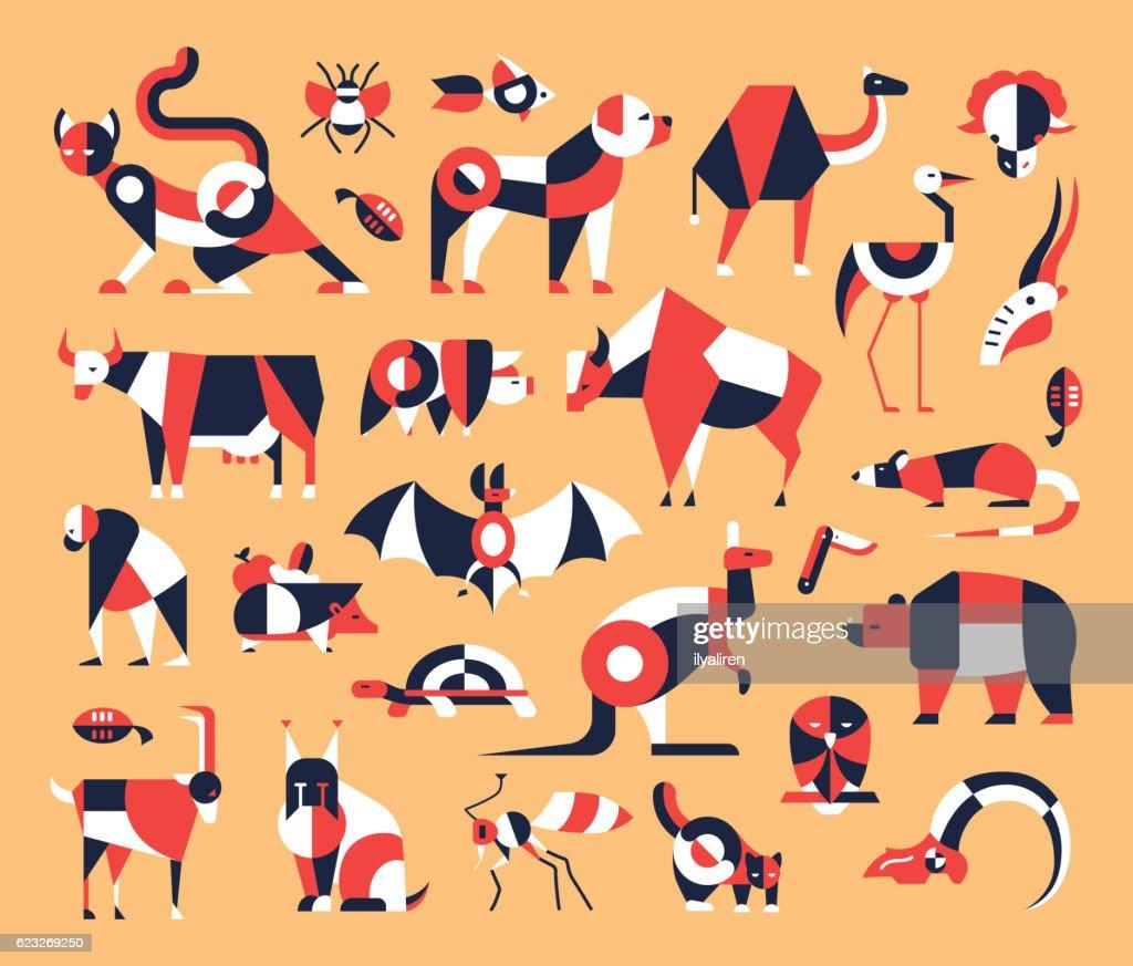 Animals - flat design icons set