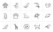Animals hand drawn sketch icon set