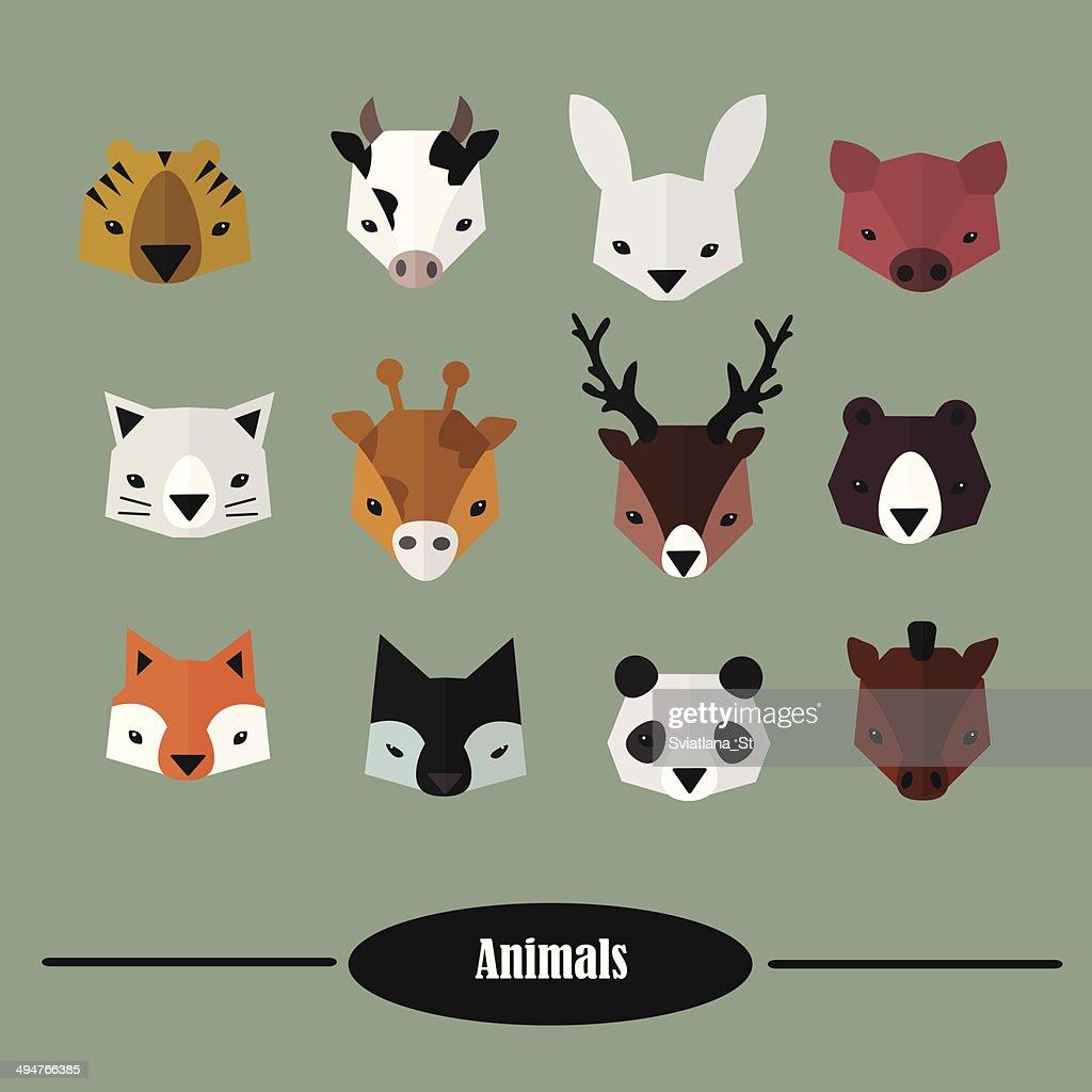 Animals heads vector set. Flat Design