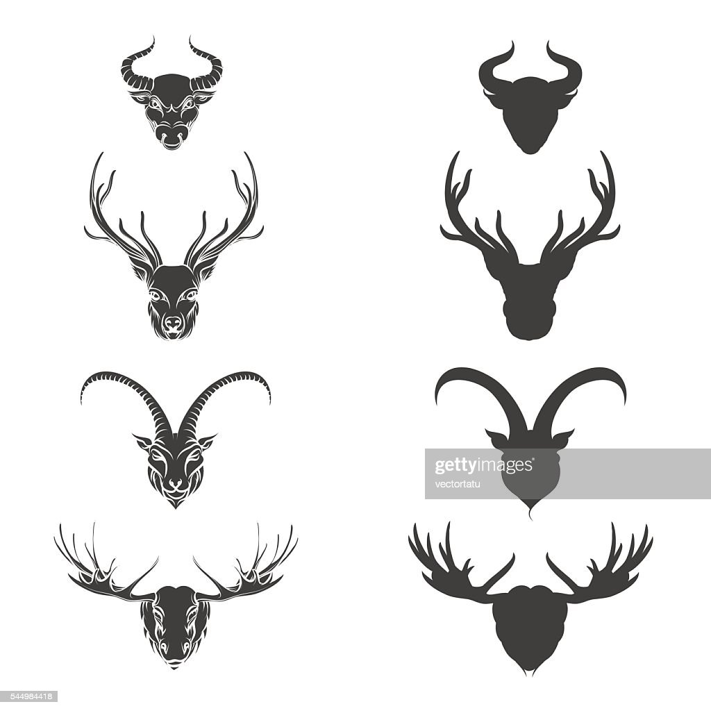 Animals horned head silhouette