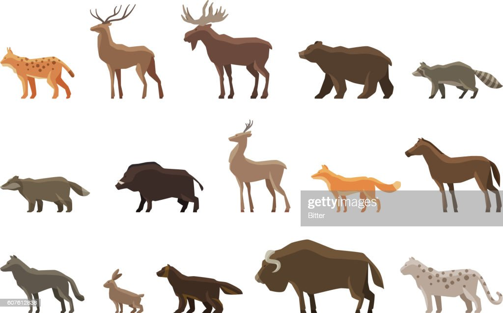 Animals icon set. Vector symbols such as lynx, deer, elk