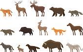 Animals icon set. Vector symbols such as lynx, deer, elk
