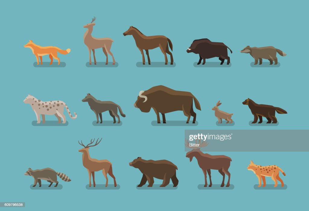 Animals icons. Wild boar, bear, fox, deer, horse, badger, leopard