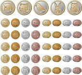 Animals illustration of coins