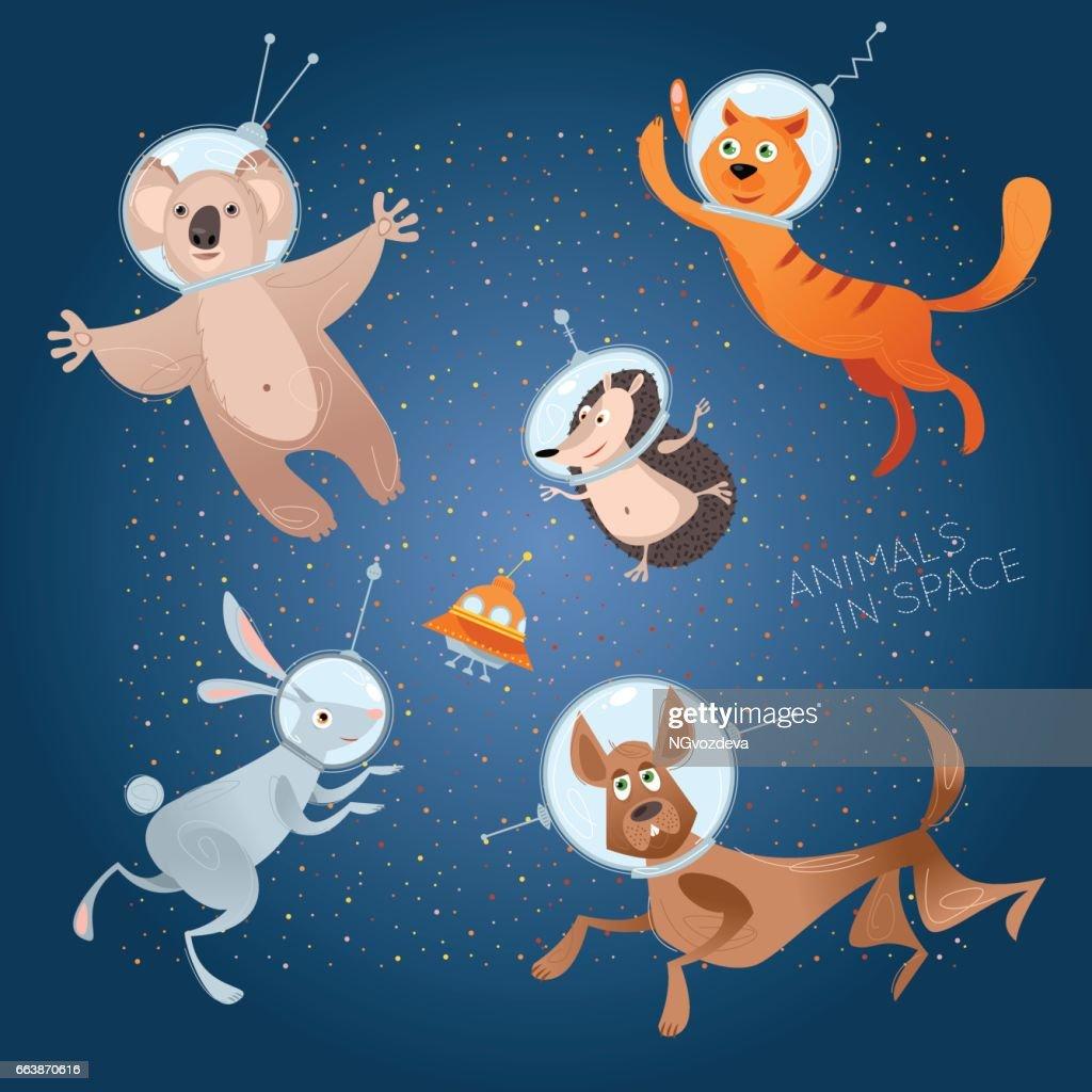 Animals in space. Astronauts. Cosmonauts. Dog, cat, hare, hedgehog, koala. : Vector Art