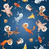 Animals in space. Astronauts. Cosmonauts. Dog, cat, hare, hedgehog, koala. Seamless background pattern.