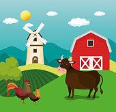 animals in the farm scene