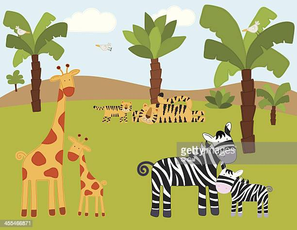 animals in the wild (series) - savannah stock illustrations, clip art, cartoons, & icons