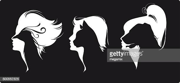 tieren köpfe auf frauen. - hairy woman stock-grafiken, -clipart, -cartoons und -symbole