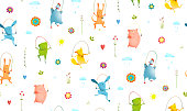 Animals Jumping Rope Seamless Pattern Background