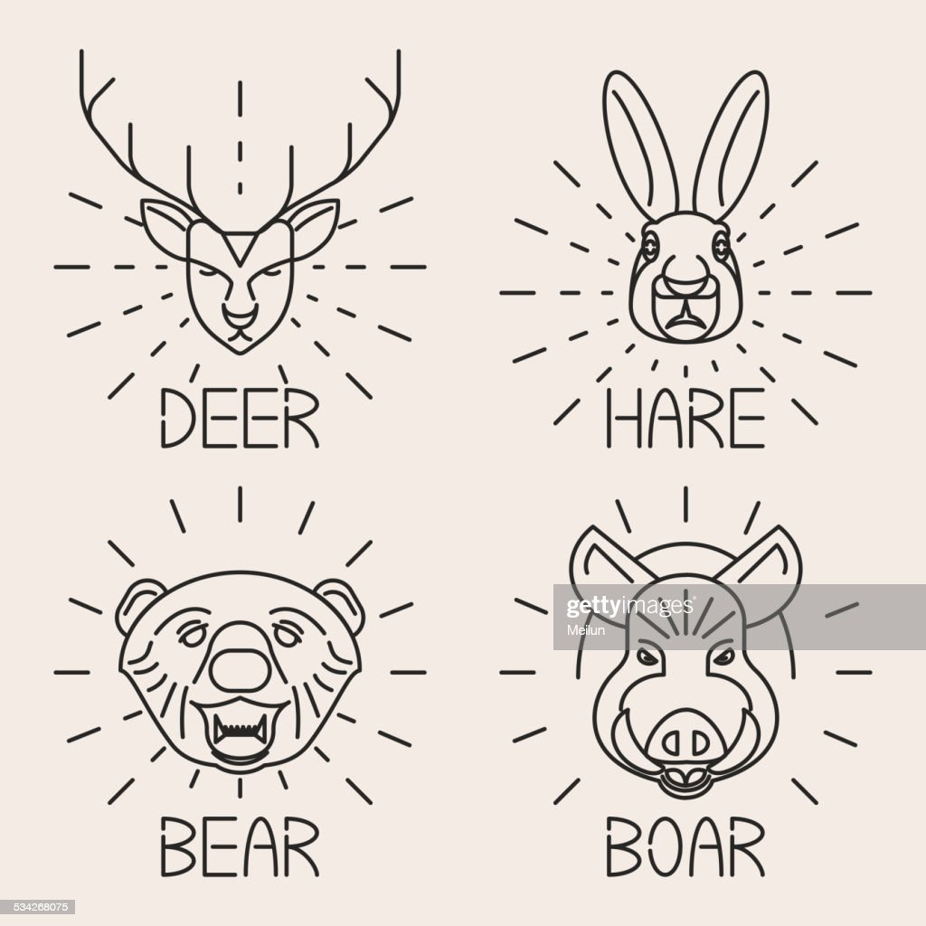 Animals Line Logo Set Nature Symbol Deer Bear Hare Boar Vector Art