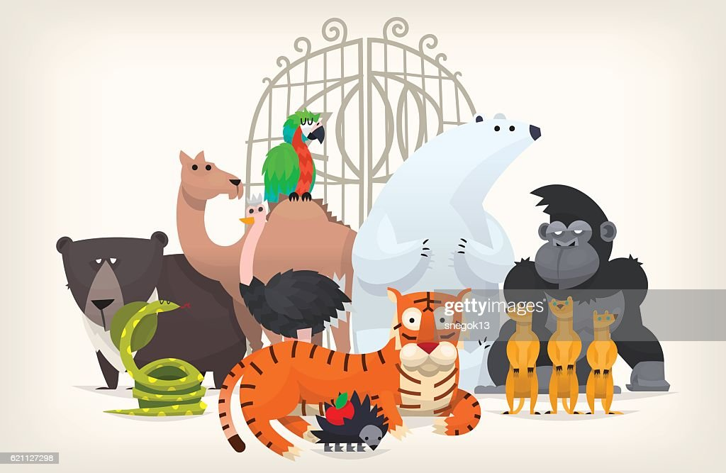 Animals near zoo gates