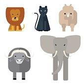 Animals of Africa. Big Five . Vector illustration of a flat