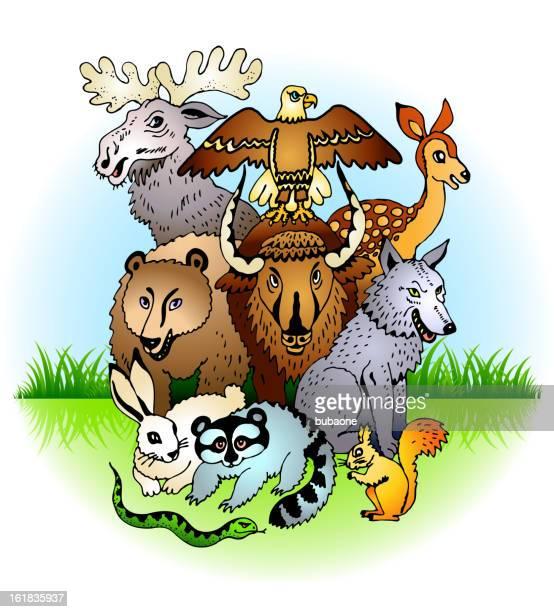 Animals on green field Background