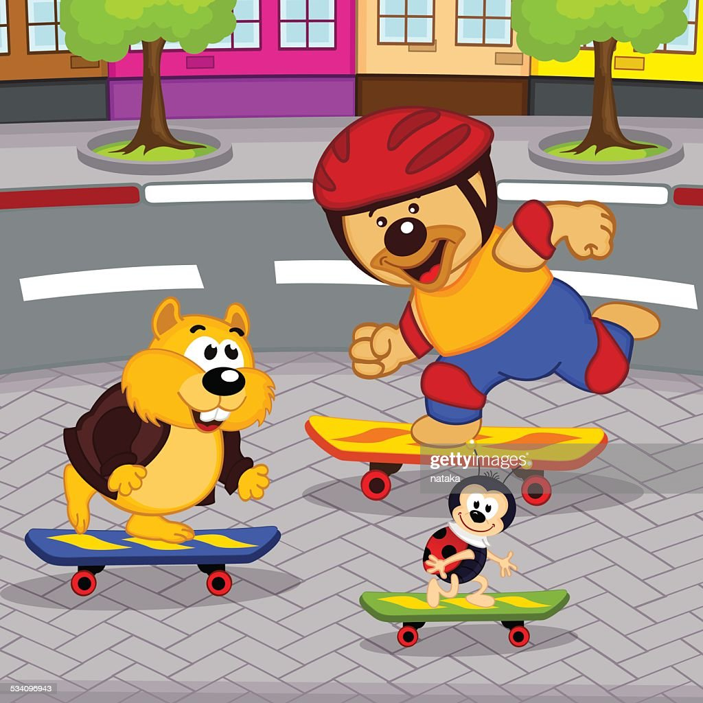 animals on skateboards