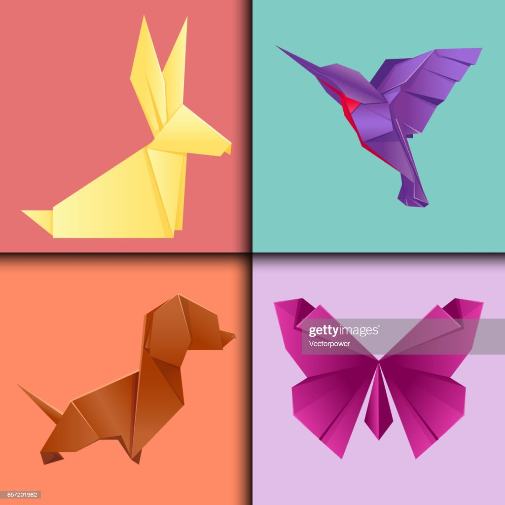 Animals Origami Set Japanese Folded Modern Wildlife Hobby Symbol