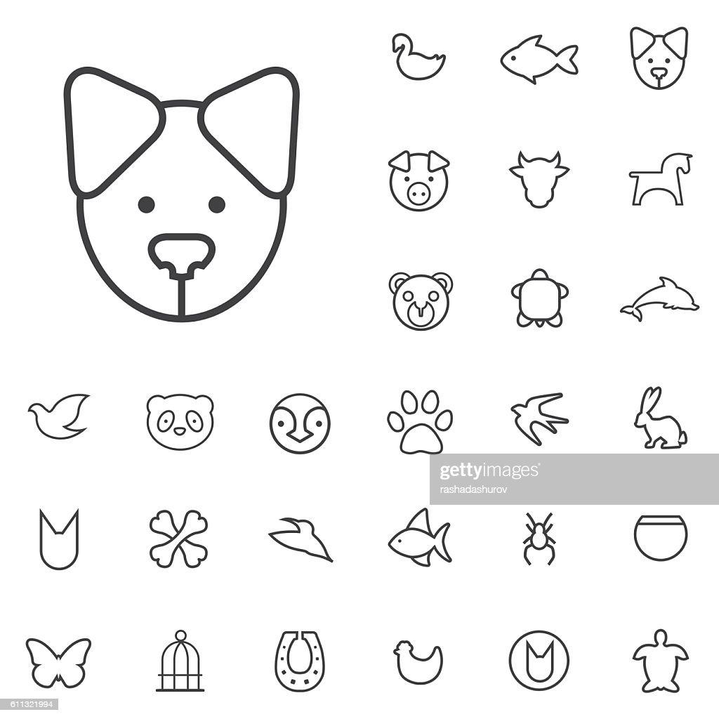 animals outline, thin, flat, digital icon set