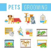 Animals pets grooming flat colorful vector illustrations