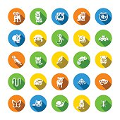 Animals pets vector flat round icons set