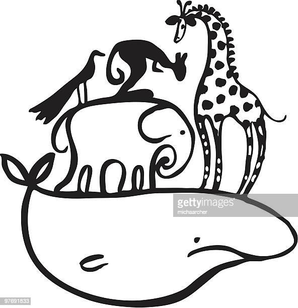 animals piled up - blue whale stock illustrations, clip art, cartoons, & icons