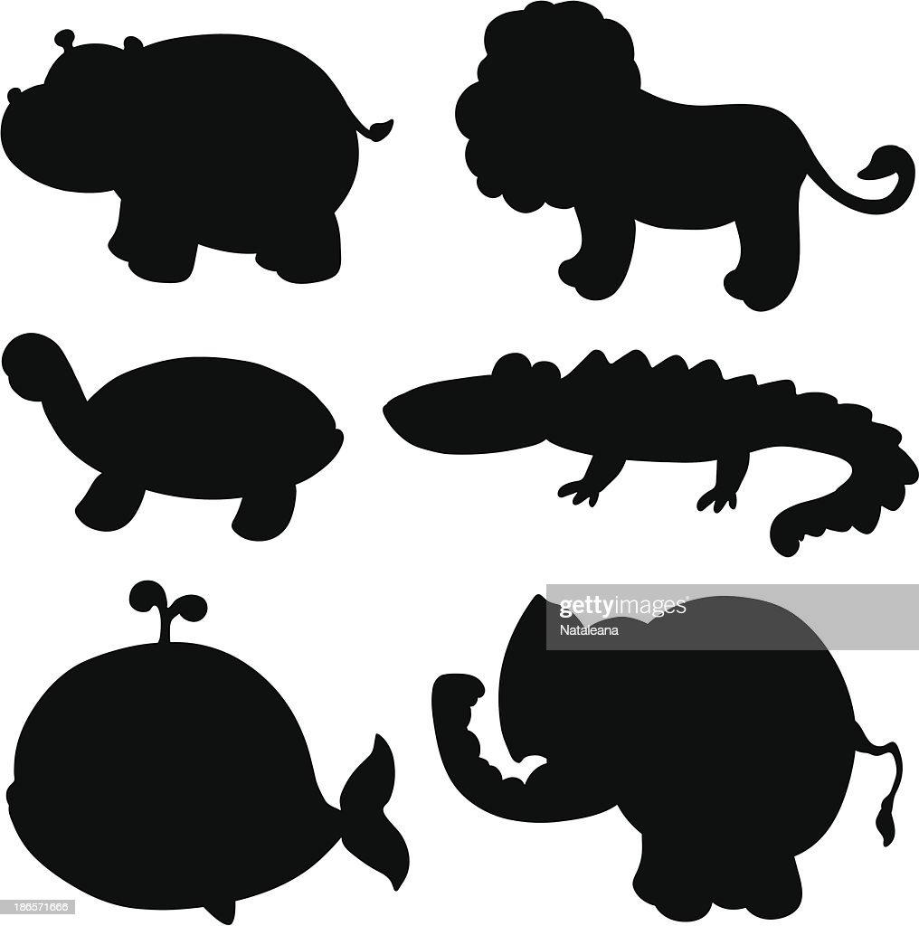 Animals set of black silhouette