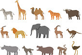 Animals set of colored icons isolated on white background. Vector