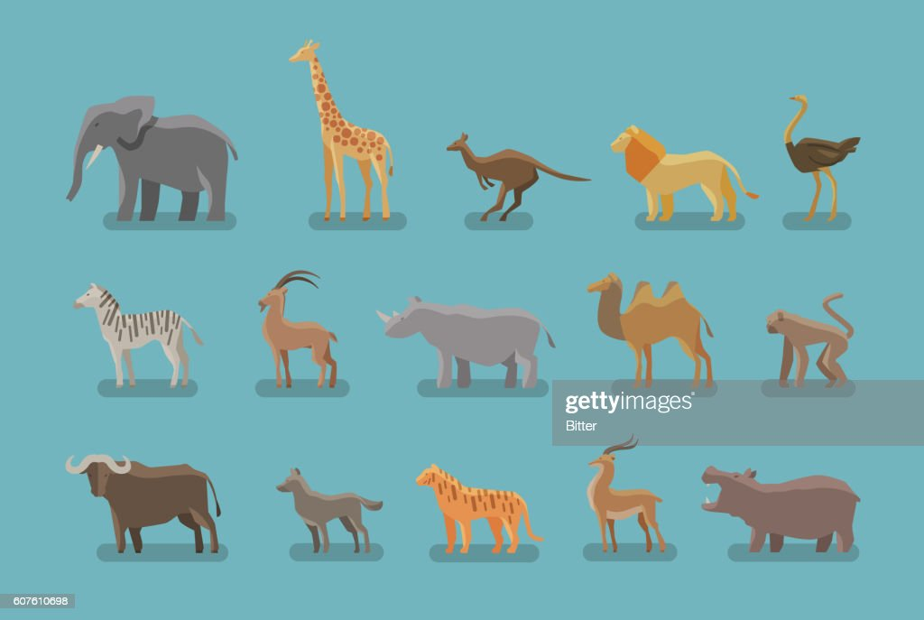 Animals set of colored icons. Vector symbols such as elephant