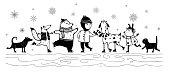 Animals Ski with Kid Winter Holiday Vintage Design
