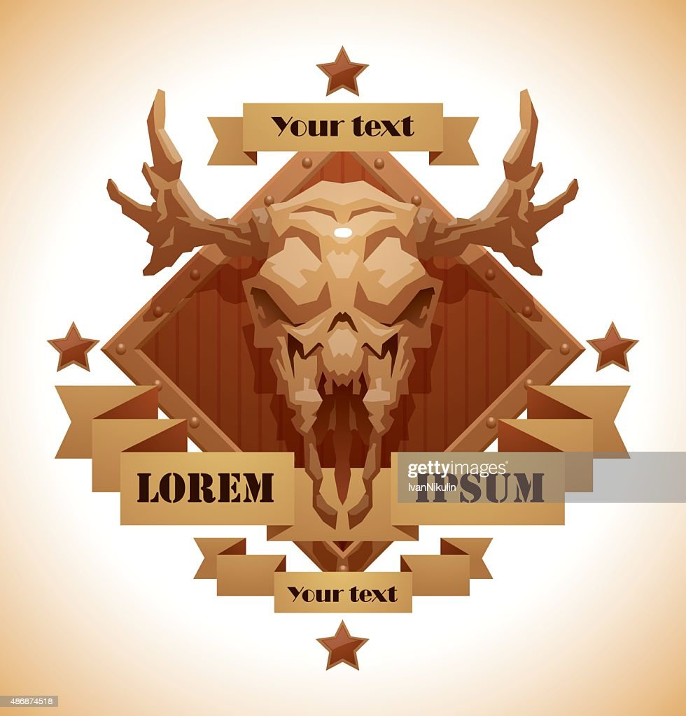 Animal's skull emblem, moose