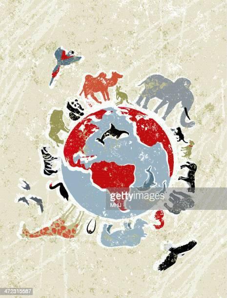 Tiere um eine Weltkarte