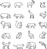 Animals thin line vector icons